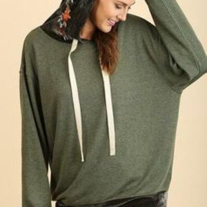 Umgee Embroidered Hoodie With Velvet Trim